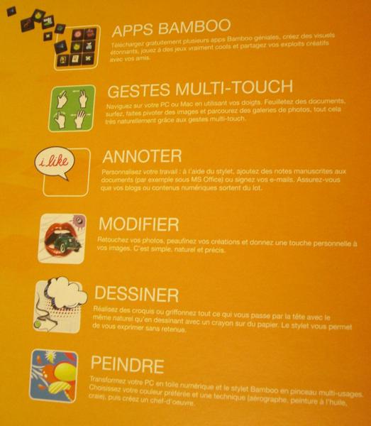 Fonctions de la tablette
