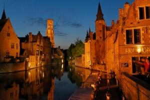 photo de nuit Bruges clarte